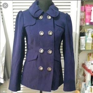 Hydraulic Double Breasted Peacoat in Indigo